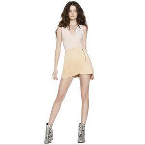 Suede Side Zip Overlap Mini Skirt